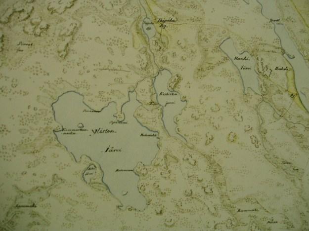 Tapiolankylän järvet 1700-luvun Kuninkaankartaston mukaan.