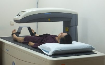 Patient going through Bone Mineral Densitometry scan