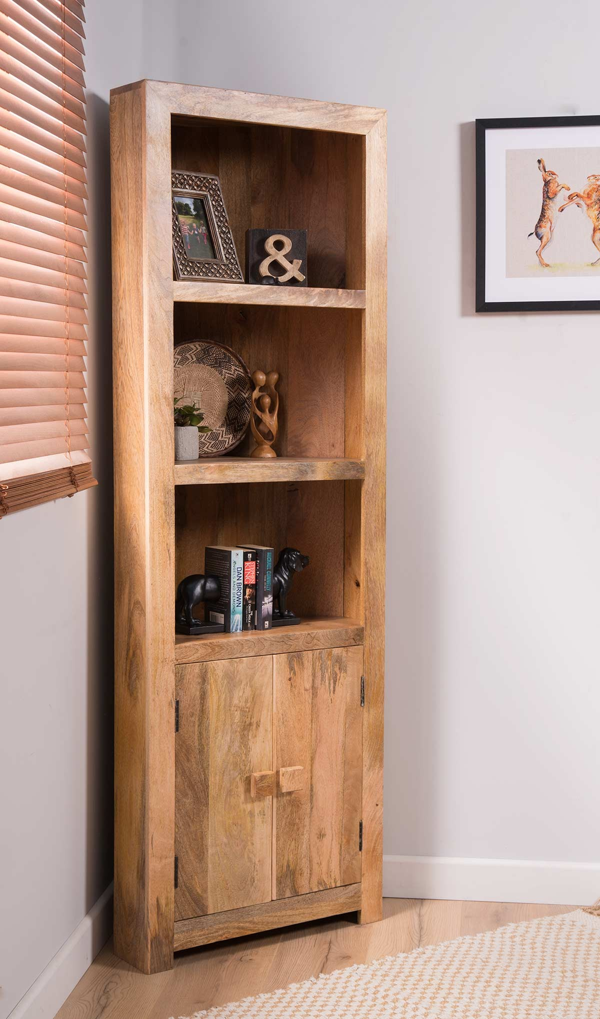 Dakota Light Mango Corner Bookcase