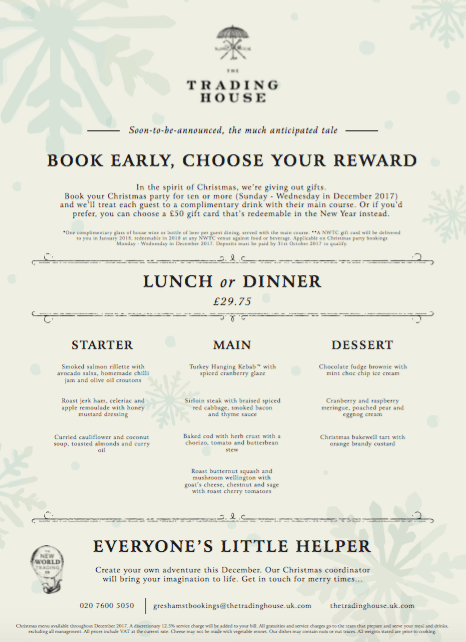 The Trading House's Christmas Menu
