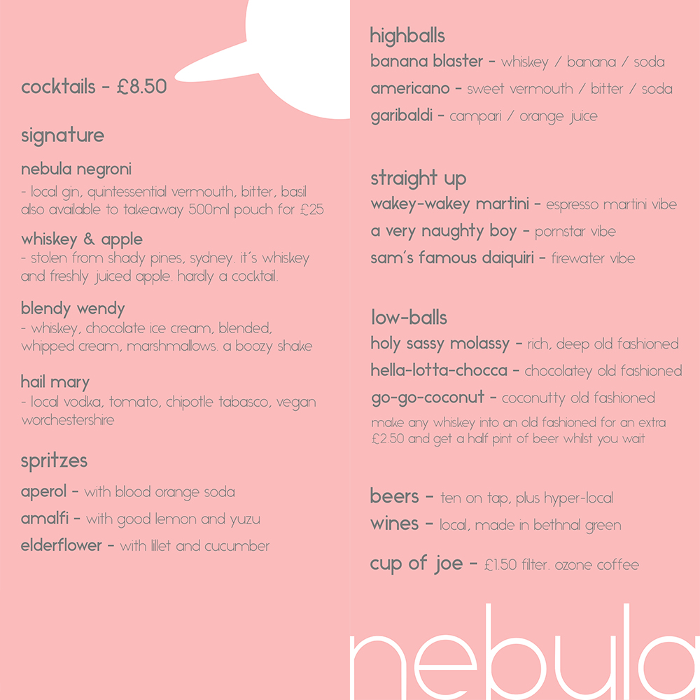 nebula cocktail menu preview, Sated Online
