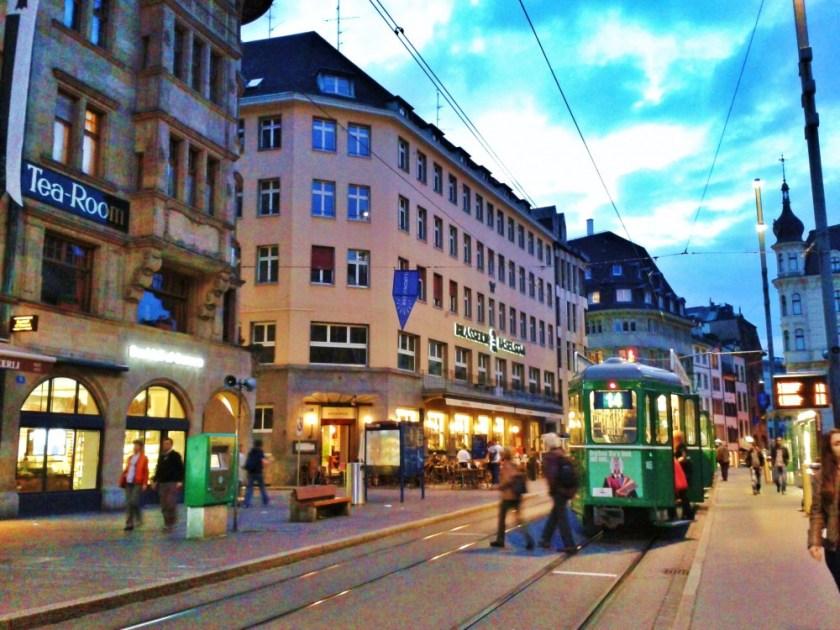 Basel, Switzerland, at dusk