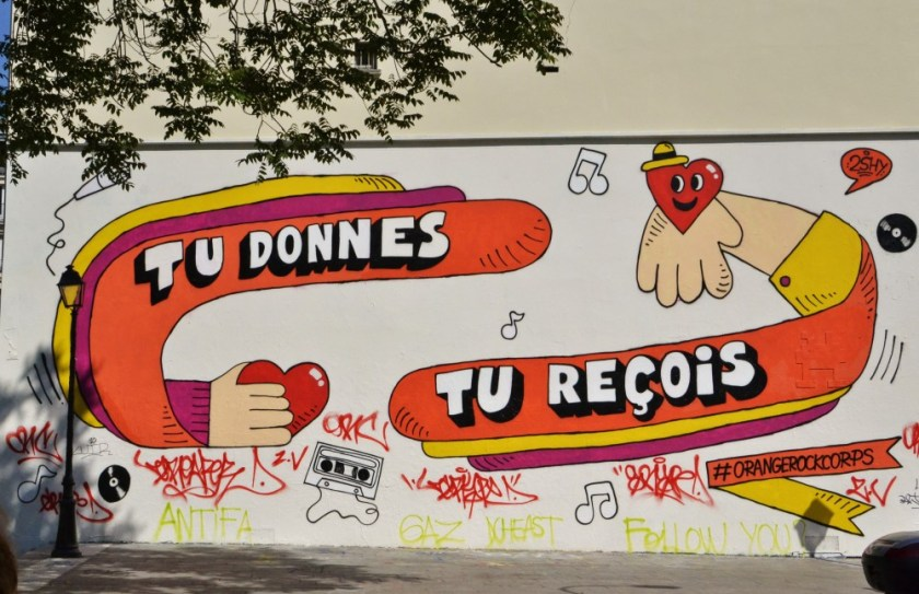 Mural along Canal Saint-Martin, Paris, France