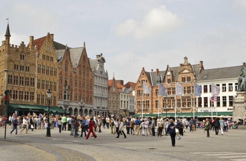 Great market square in Bruges, Belgium