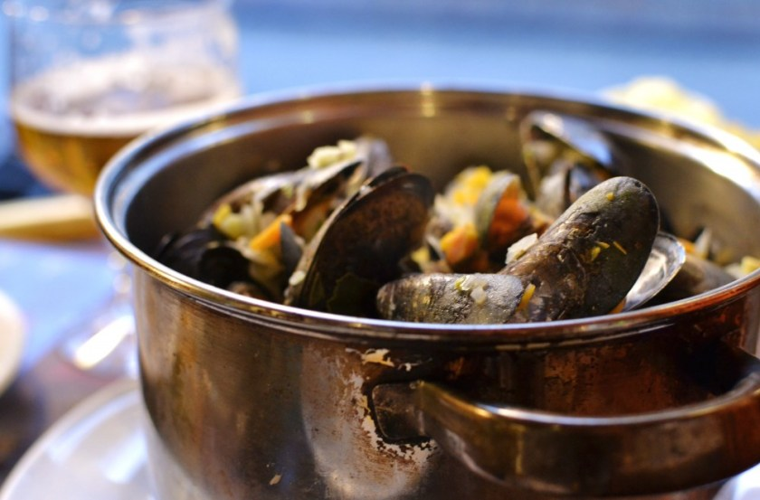Mussels and fries in Bruges, Belgium