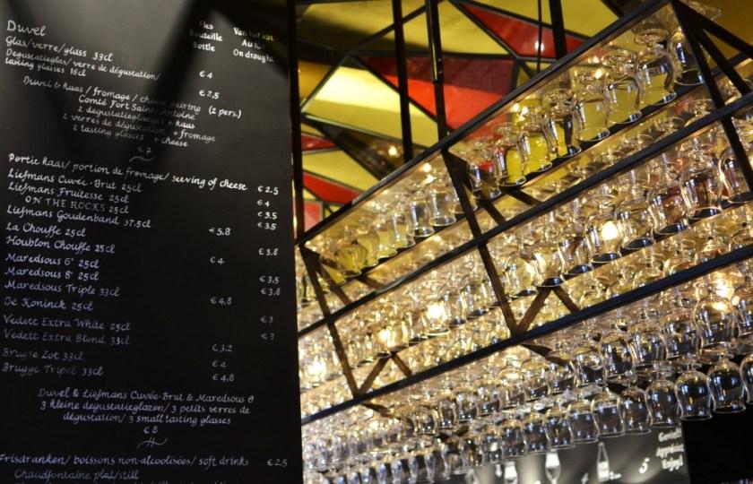 Beer glasses in Bruges, Belgium