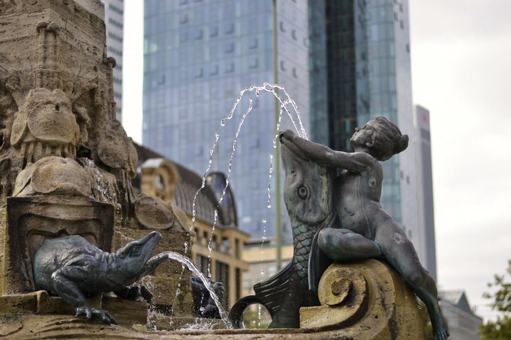 Fountain and skyscraper in Frankfurt, Germany