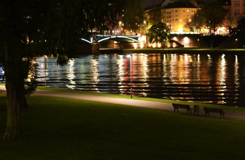 Night time in Frankfurt, Germany