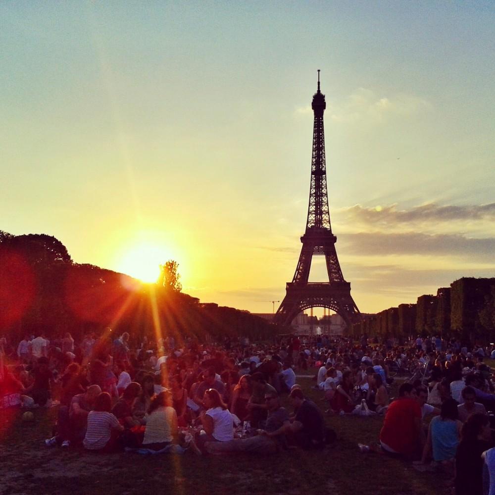 Sunset in Paris, France