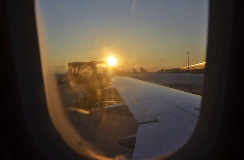 Vienna airport sunset
