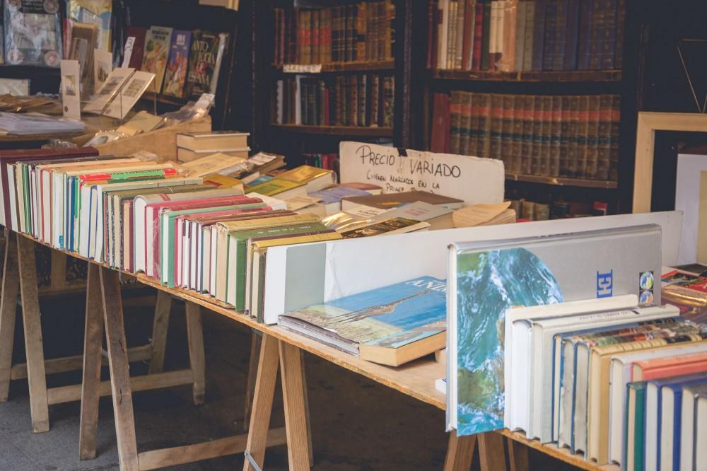 Old books in Madrid, Spain