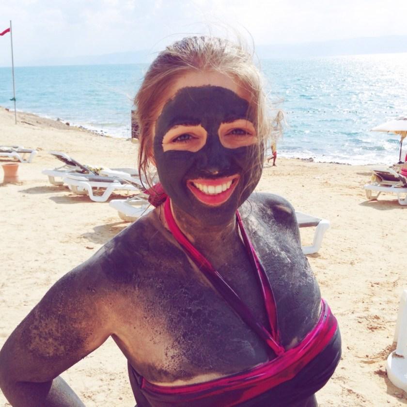 Julika on the beach near the Dead Sea, Jordan