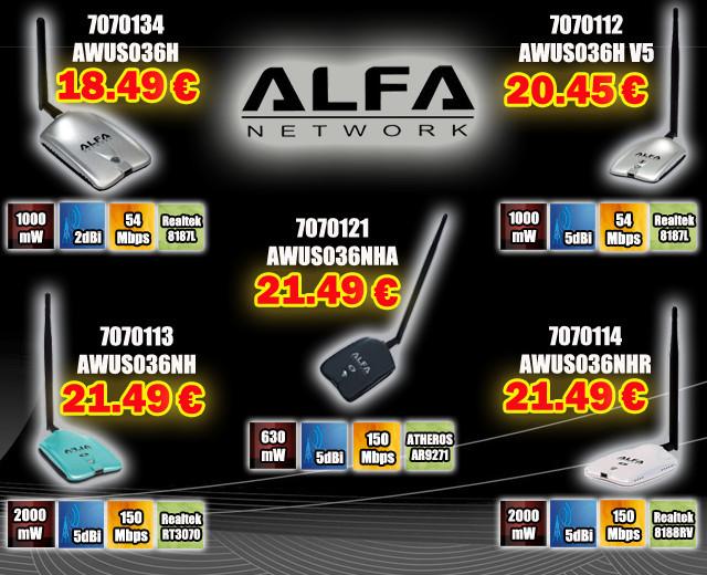 GAMA DISPOSITIVOS USB ALFA NETWORKS AWUS036