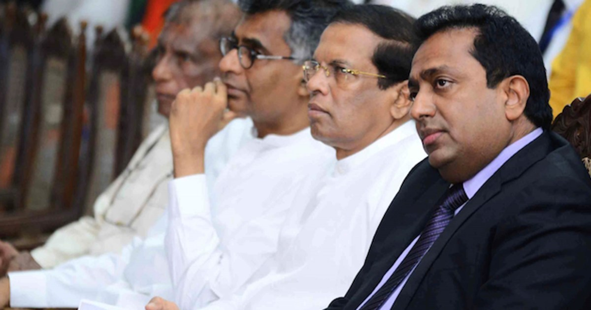 President Maithripala Sirisena (second on the right) with cabinet ministers Akila Viraj Kariyawasam and Champika Ranawaka hearing about the potential for mindfulness in politics