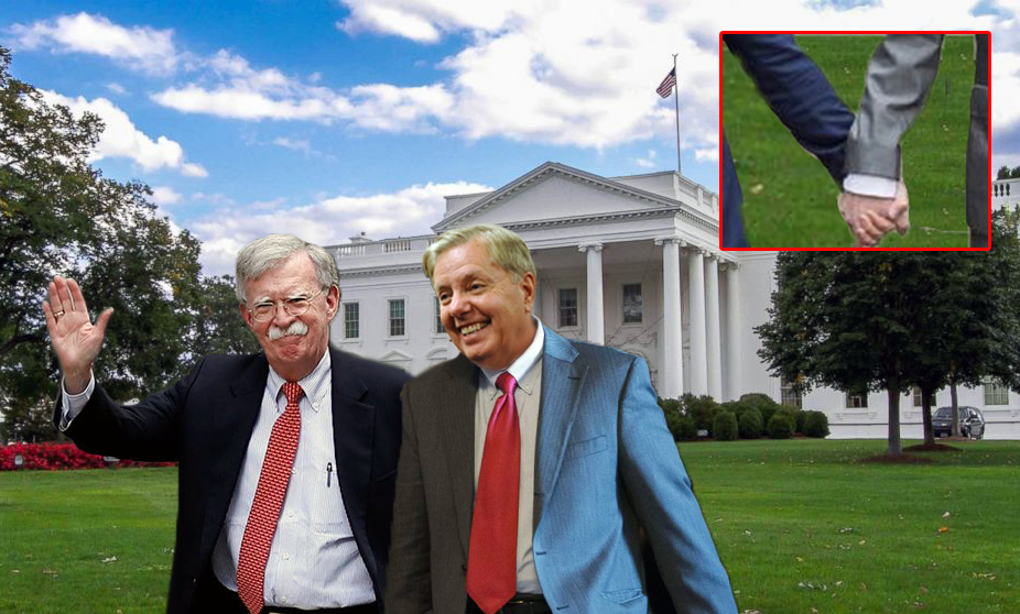 John Bolton and Lindsey Graham Hold Hands As They Daydream About Invading Greenland