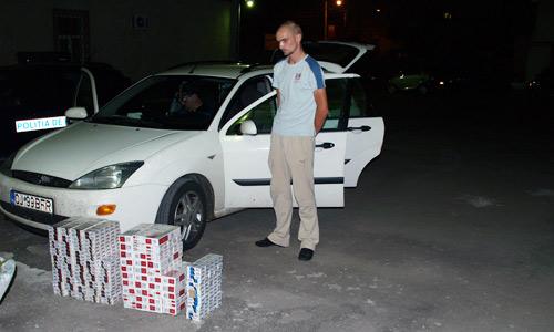 880 pachete de ţigări descoperite în maşina unui tânăr
