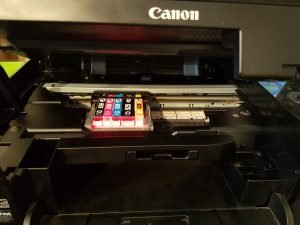 Canon printer with lid open