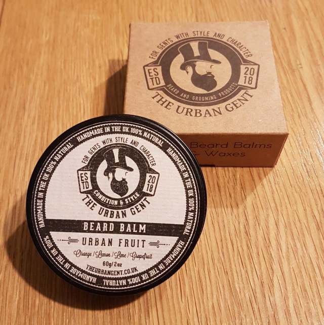 Urban Fruit Beard Balm from The Urban Gent and brown card box with logo