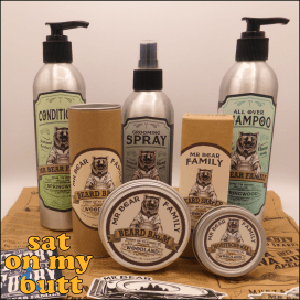 Mr Bear Family Springwood Shampoo & Conditioner This image shows a range of products from Mr Bear Family and their amazing branding.