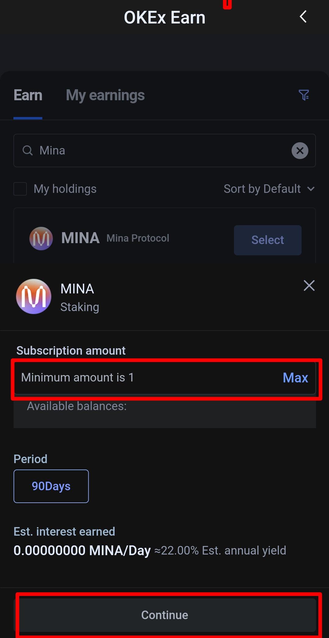 طريقة تخزين MINA على منصة OKEx