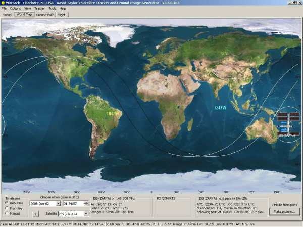 WXtrack predicts satellite positions and ground path