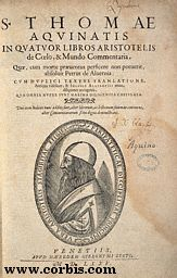 """Title page from """"In Quatuor Libros Aristotelis"""", by Thomas Aquinas (printed 1575)"""