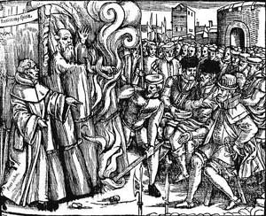 The martyrdom of Thomas Cranmer, from an old edition of Foxe's Book of Martyrs