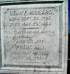 Gravestone of Henry & Phebe Ann Hillard