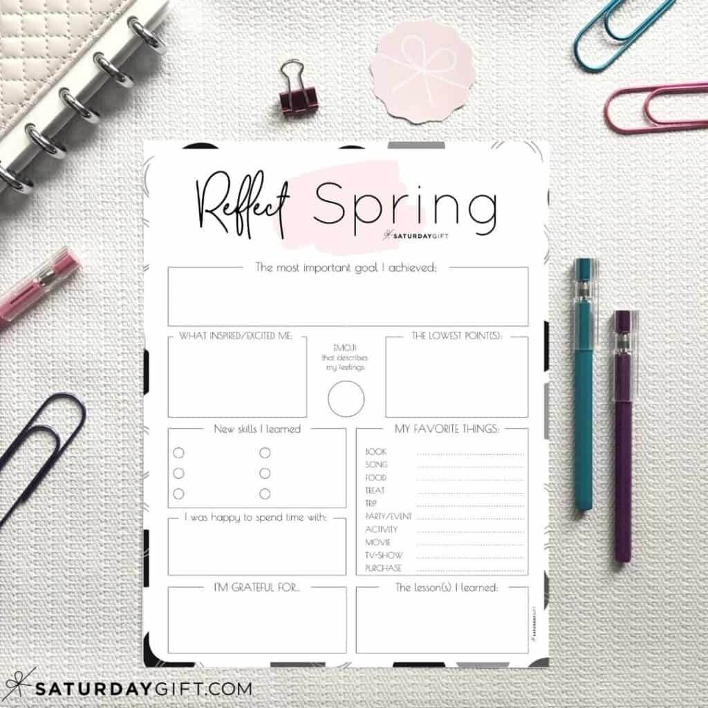 Review Your Life With The Spring Reflection Worksheet