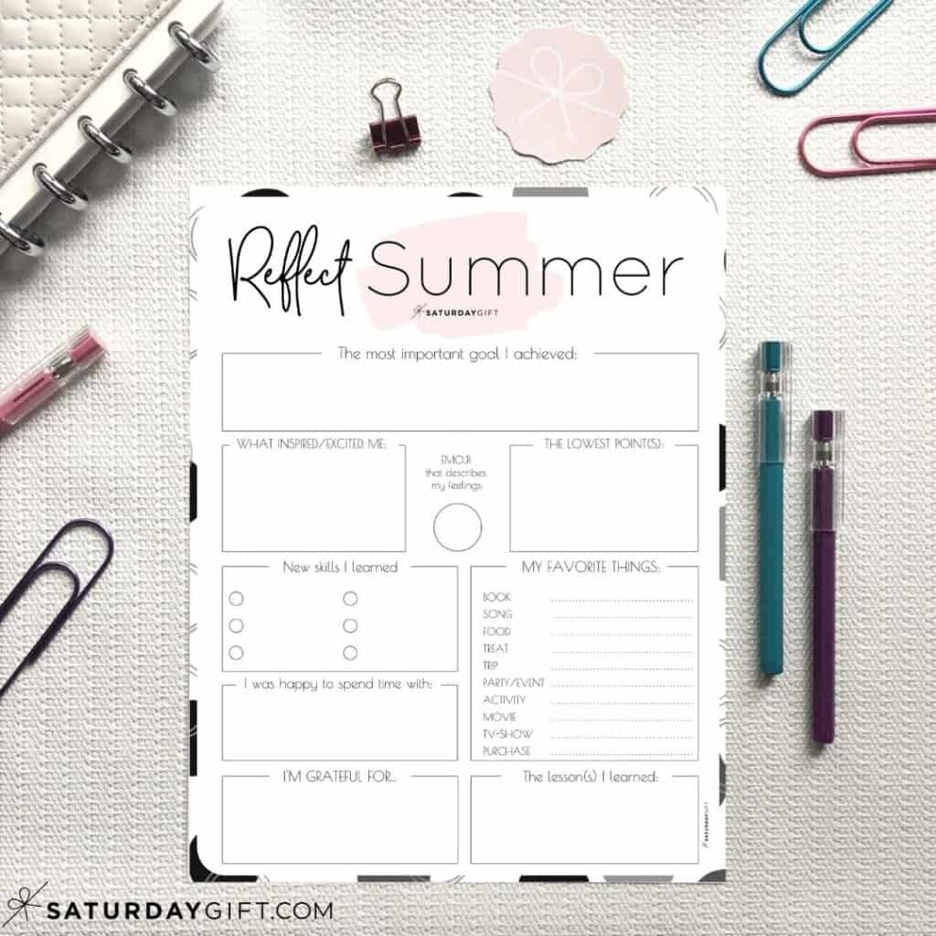 Review Your Life With The Summer Reflection Worksheet