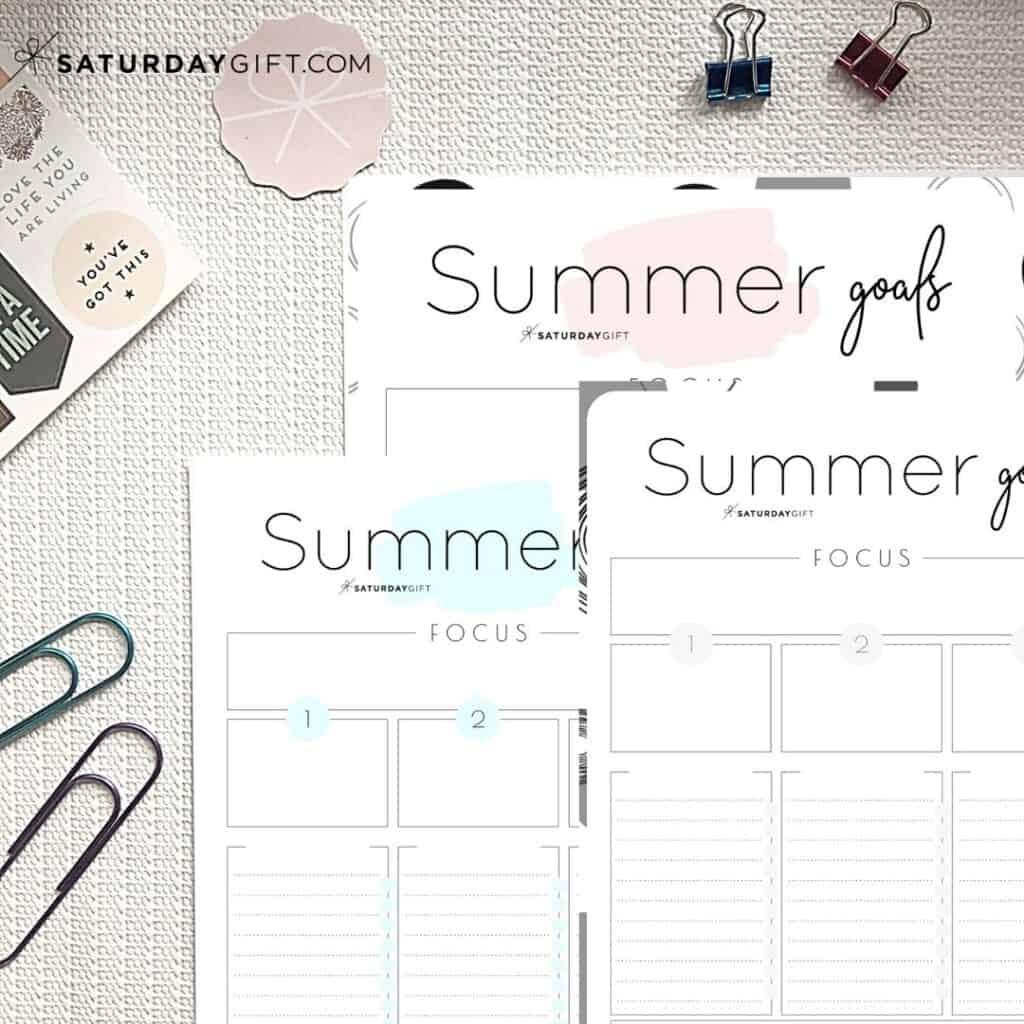 Set Amp Achieve Summer Goals Printable Worksheet