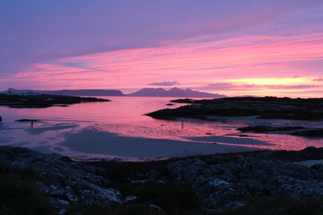Eigg and Rum at sunset Eigg and Rum at sunset (and it was really that colour!)