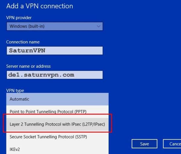 Setup L2TP VPN windows 10 -SaturnVPN