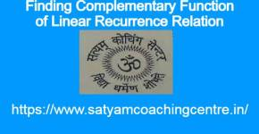 Finding Complementary Function of Linear Recurrence Relation