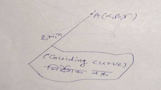 Equation of cone whose vertex and guiding curve are given