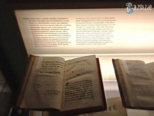"""Vitrine im Schillermuseum, die neben einem zeitgenössichen Werk eine Definition von """"Poesie"""" ausstellt"""