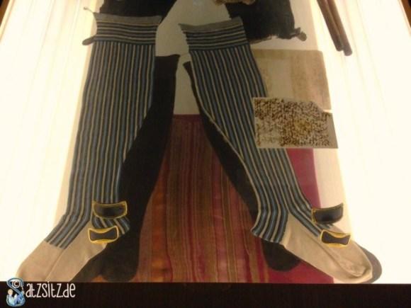 Vitrine mit einem ausgestellten Paar von Schilelrs Socken: blau gestreift.