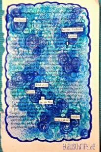 Blackout Poem / versteckter Vers mit blauem Rahmen und blauer Überdeckung