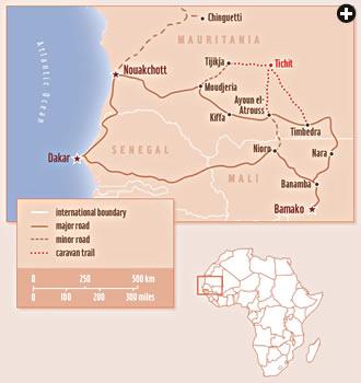 Map showing Tichit