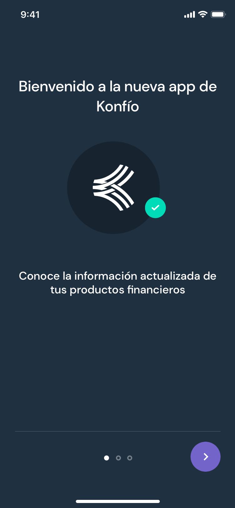 Konfío app onboarding