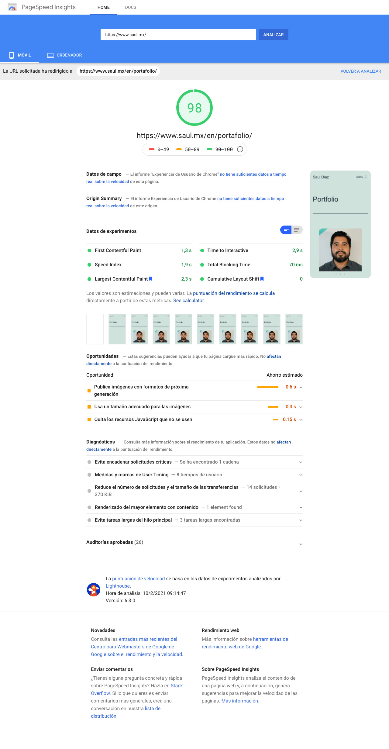 saul.mx Google Pagespeed Insights mobile