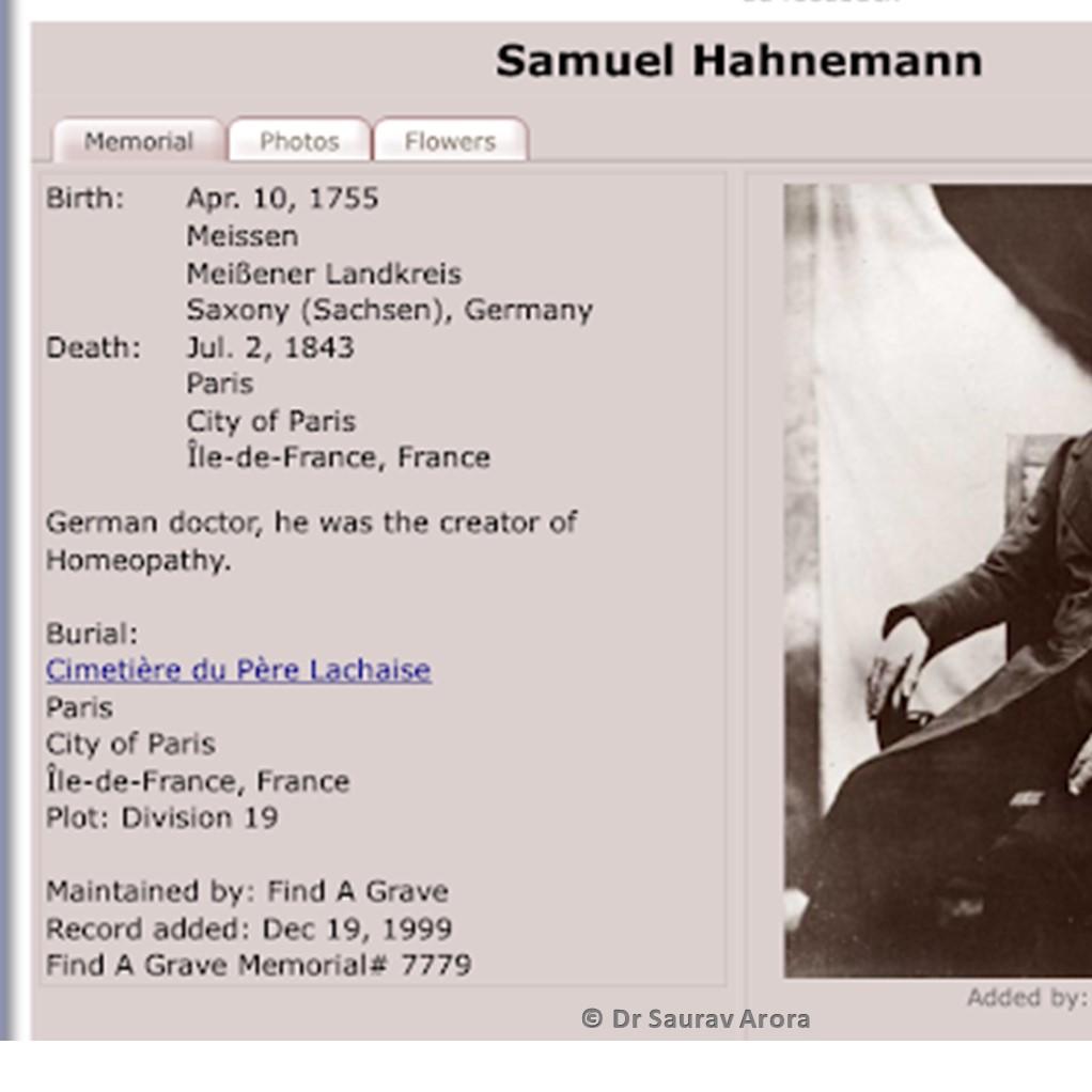 Hahmemann Cemetery Paris Address