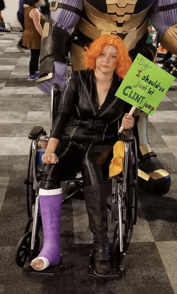 Broken legged Black Widow cosplay