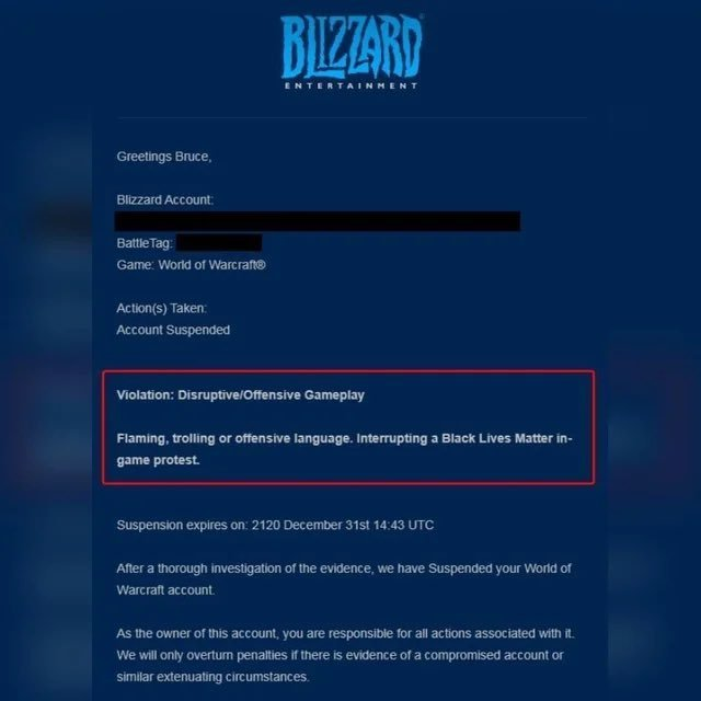 Blizzard bans player in for interrupting BLM WoW protest