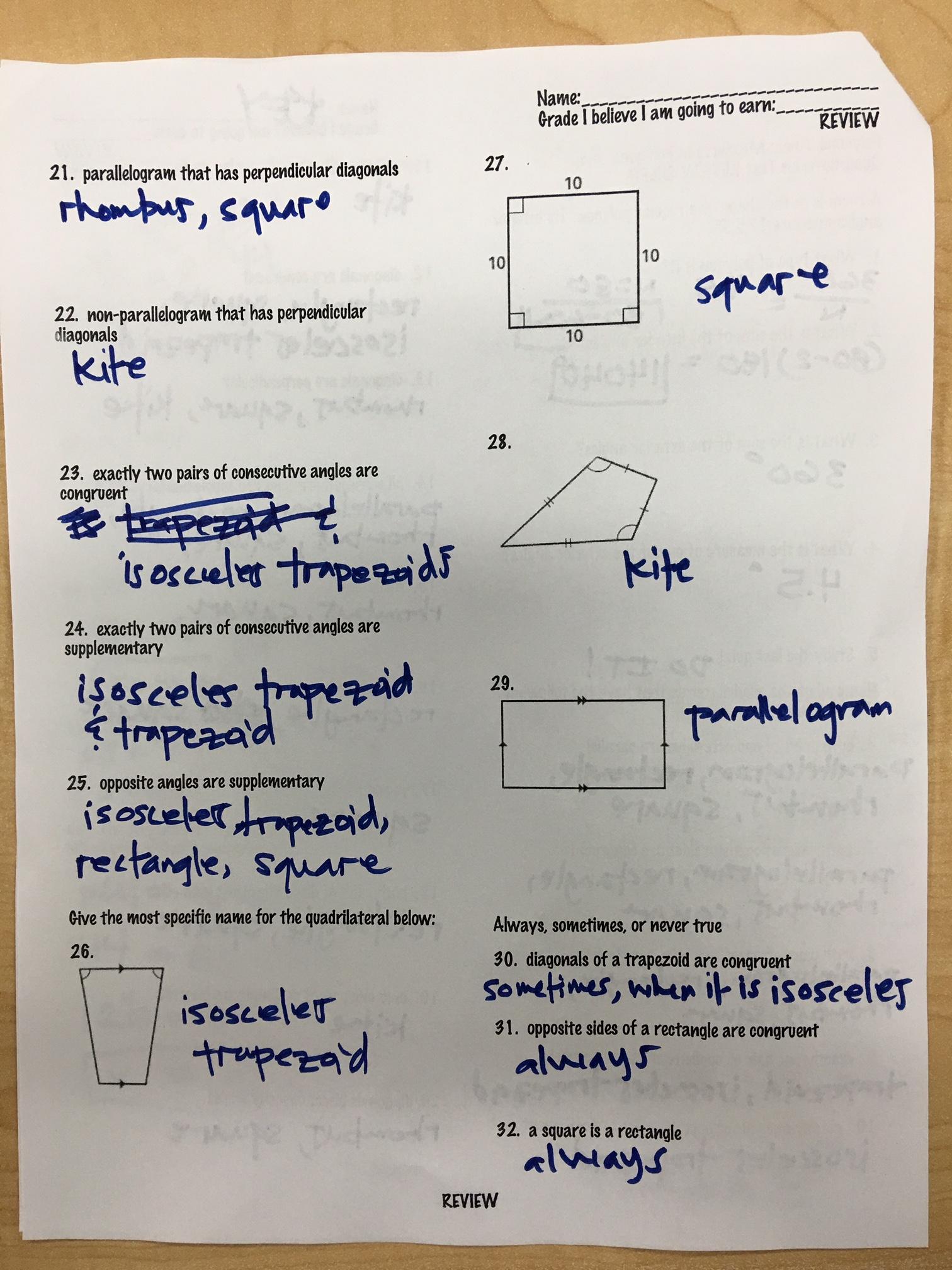 Quinanola Mark Honors Geometry Homework And Handouts