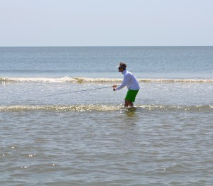 Mark stalking a skinny water fish on the sand bars