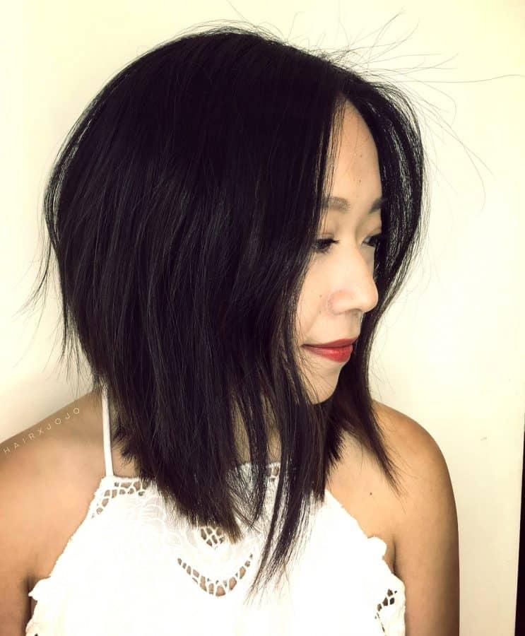 Multi-layer abgewinkelt lange Bob cut Asian Layered Lange Bob Cut