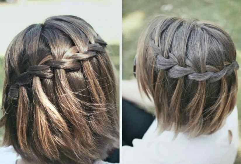 Dirndl Frisuren Mittellanges Haar Wasserfallgeflecht für mittellanges Haar