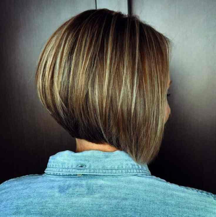 Neuer Frisuren Bob Kurz Stufig Hinten Perfekter invertierter Bob mit dünnen Highlights