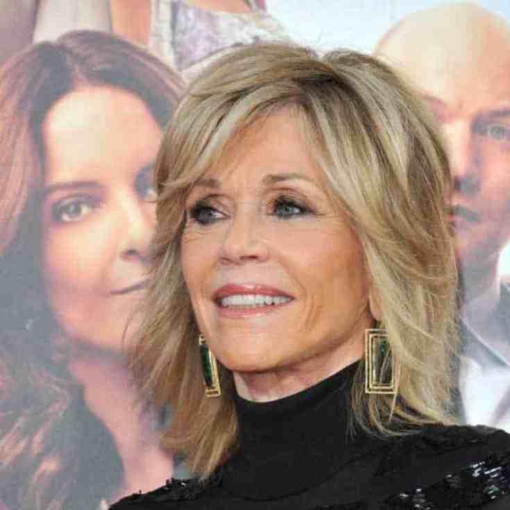 Jane Fonda's Signatur geschichtete Frisur
